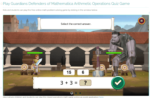 Play Guardians Defenders of Mathematica Arithmetic Operations Quiz Game