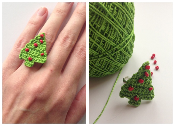 árboles crochet, bisutería, pendientes, anillos navidad