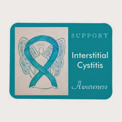 Support Interstitial Cystitis (IC) Turquoise Blue Awareness Ribbon Guardian Angel Rectangle Magnets Gifts