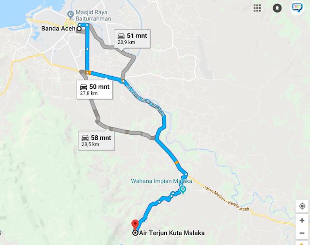 Gambar Peta Air Terjun Kuta Malaka Tingkat Tujuh Dari BAnda Aceh
