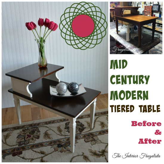MCM Tiered Table Makeover Before and After