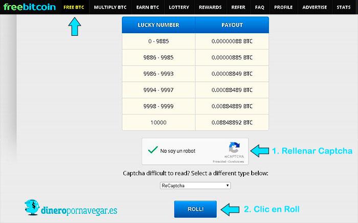 Funcionamiento Seccion FREE BTC en FreeBitcoin