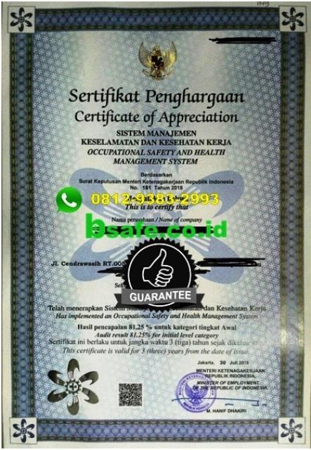 contoh sertifikat smk3, biaya sertifikasi smk3, bimbingan sertifikasi smk3