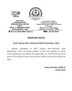 Important Notice For SSC MTS Exam
