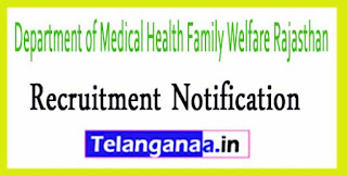 Department of Medical Health Family Welfare Rajasthan Recruitment Notification 2017