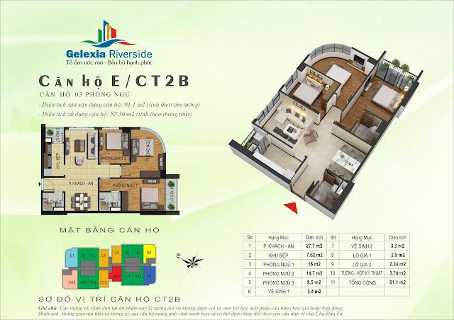 Thiết kế căn hộ E - 3 phòng ngủ tòa CT2B - CT3 Gelexia Riverside