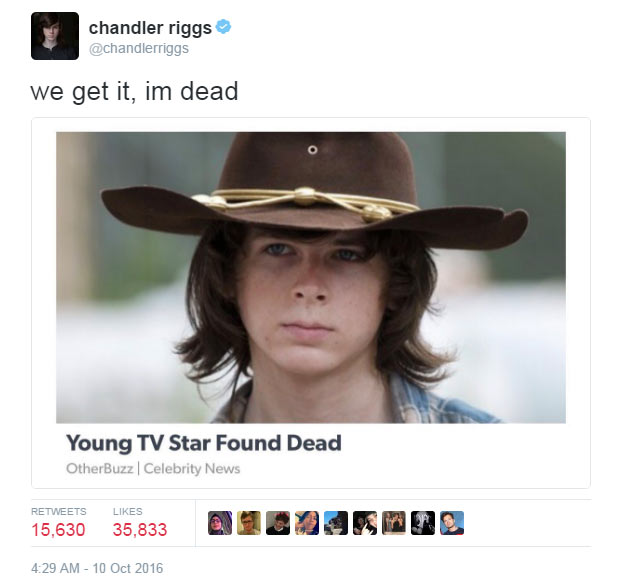 "The Walking Dead actor Chandler Riggs reacts to his own ""death"""