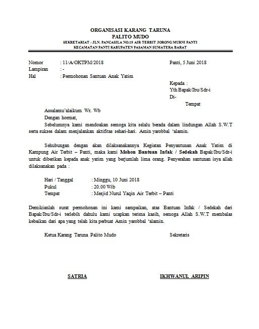 contoh surat permohonan bantuan infak anak yatim pasaman 4rt