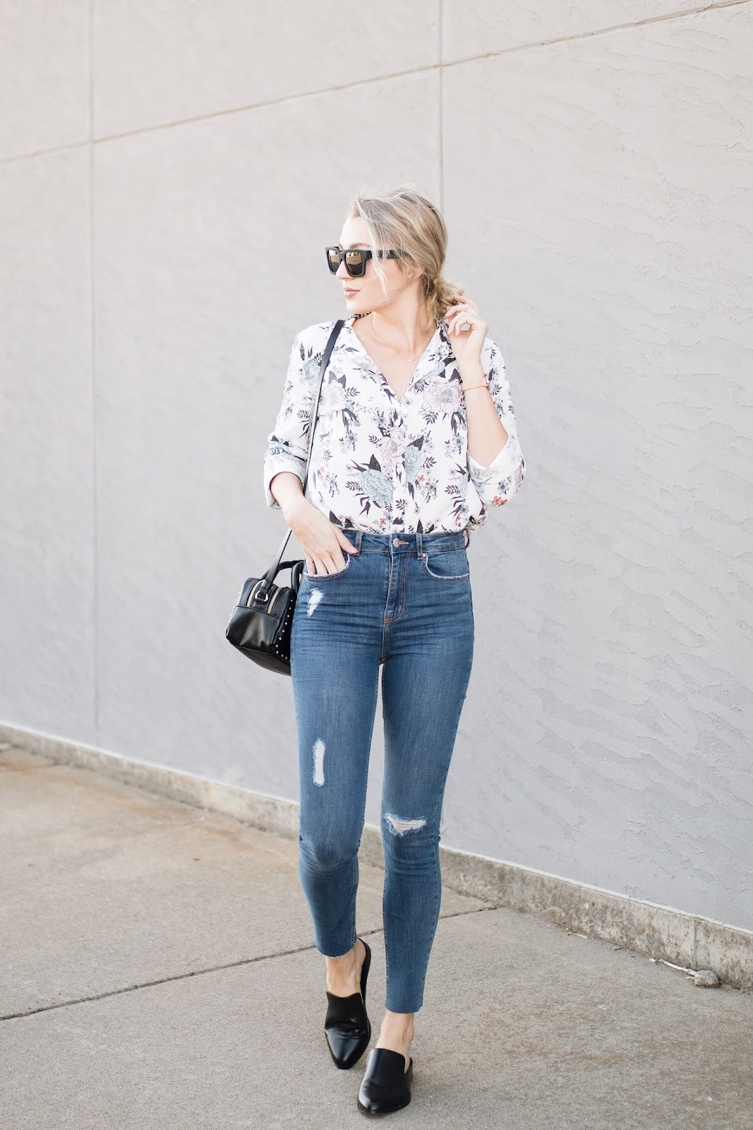 floral top with high-waisted skinny jeans - both under $30