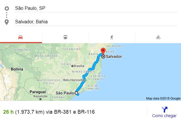 Distância entre São Paulo, SP e Salvador, BA
