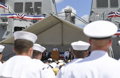 Navy Adm. Harry B. Harris Jr., commander of U.S. Pacific Command, delivers remarks during the commissioning ceremony for the Navy's newest Arleigh Burke-class guided missile destroyer, the USS John Finn, at Pearl Harbor, Hawaii, July 15, 2017. Navy photo by Petty Officer 2nd Class Aiyana Pascha