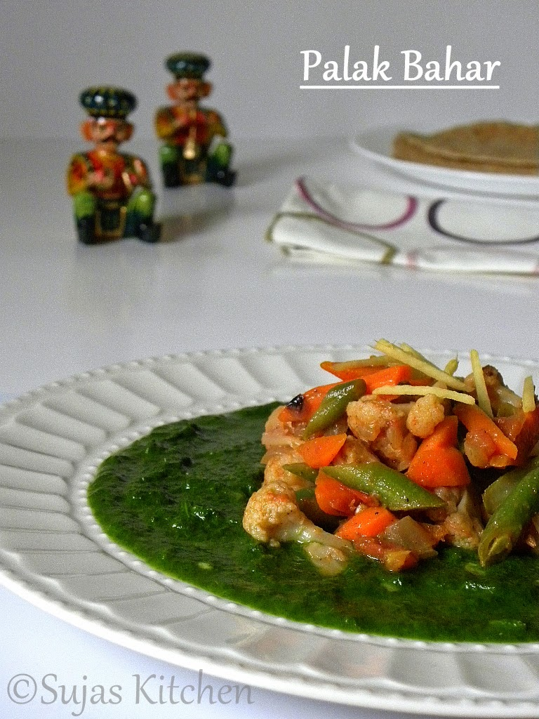 Pureed spinach with sauteed vegetables