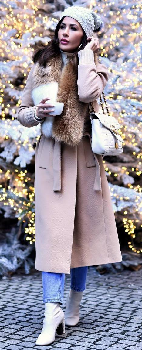 cozy outfit inspiration / white hat + nude coat + bag + jeans + boots