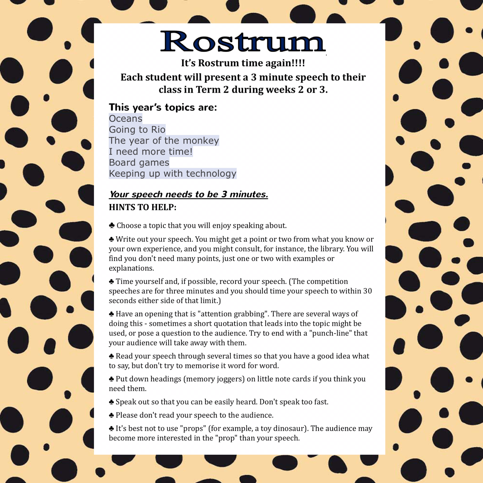 Year 3/4 Middle Learning Community: Rostrum Public Speaking