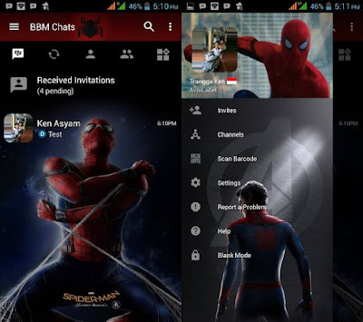 Download BBM MOD Spiderman HC (Homecoming) v3.2.5.12 Update Apk