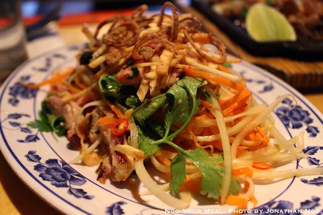Green Mango Salad, Charred Chicken, Lemongrass, Mint, Coriander, Cashew, Dried Shrimp at Pig & Khao