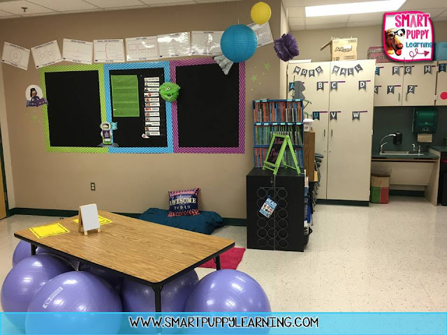 first grade classroom reveal, flexible seating