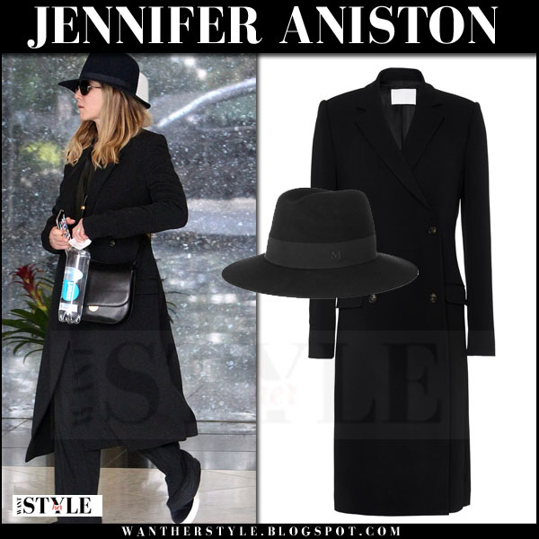 Jennifer Aniston in long black brock coat and black maison michel hat what she wore streetstyle
