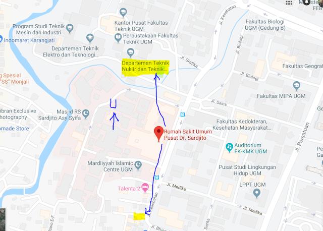Titik Jemput Penumpang Ojek Online Gojek-Grab di Rs Sardjito Yogyakarta