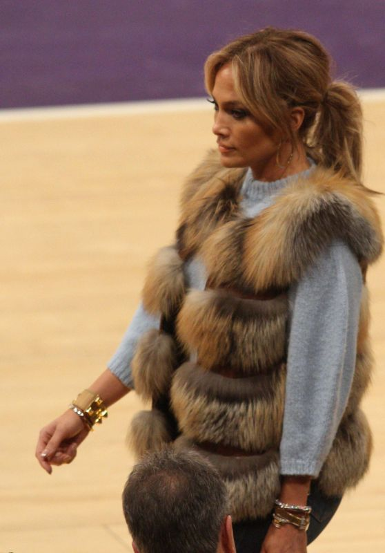 Jennifer Lopez at a Lakers Game in Los Angeles.