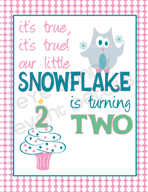 snowflake is turning two, owl birthday party, winter birthday theme