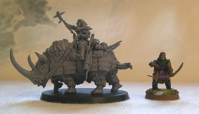Northstar Miniatures: Frostgrave Kornovik, Barbarian Outcast on Woolly Rhino