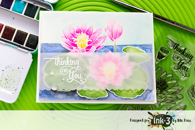 Thinking of You Card - Ink On 3's Waterlily Stamp Set