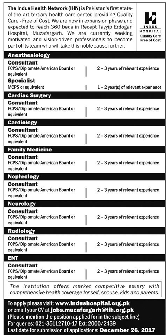 Jobs In Indus Hospital Karachi Dec 2017