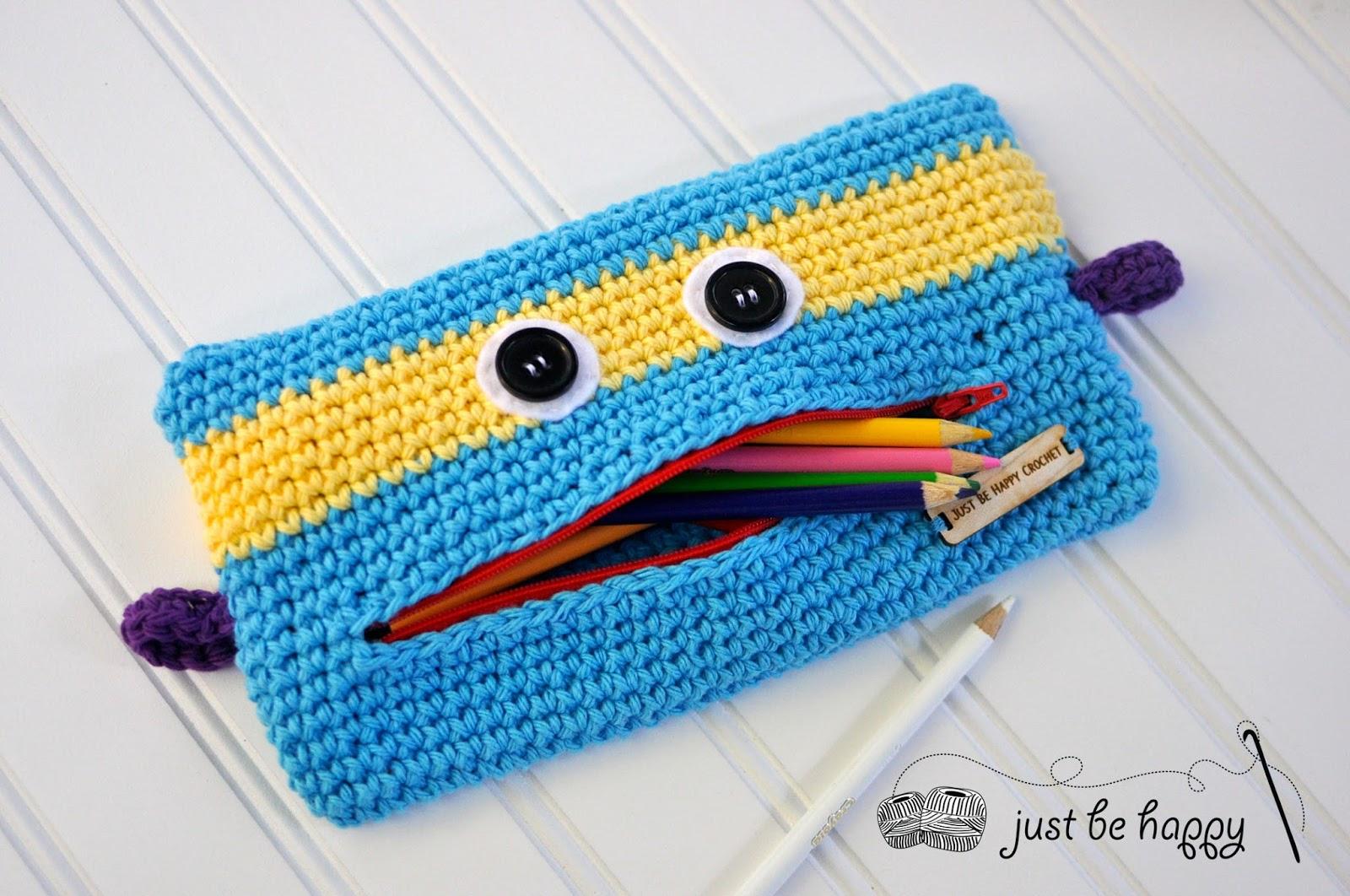 just be happy monster pencil case crochet pattern