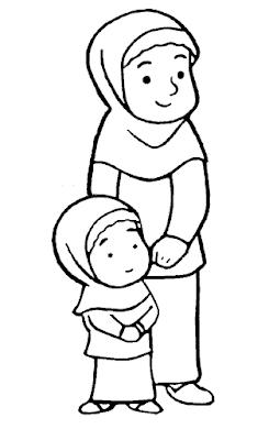 Gambar Mewarnai Anak Muslim - 6
