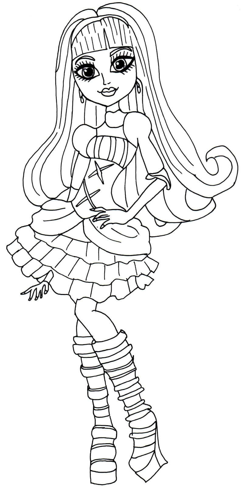 new monster high dolls 2014 coloring pages: Elissabat Free