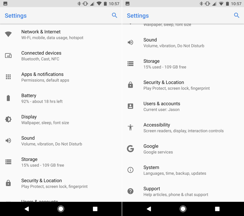 Android O: Settings UI