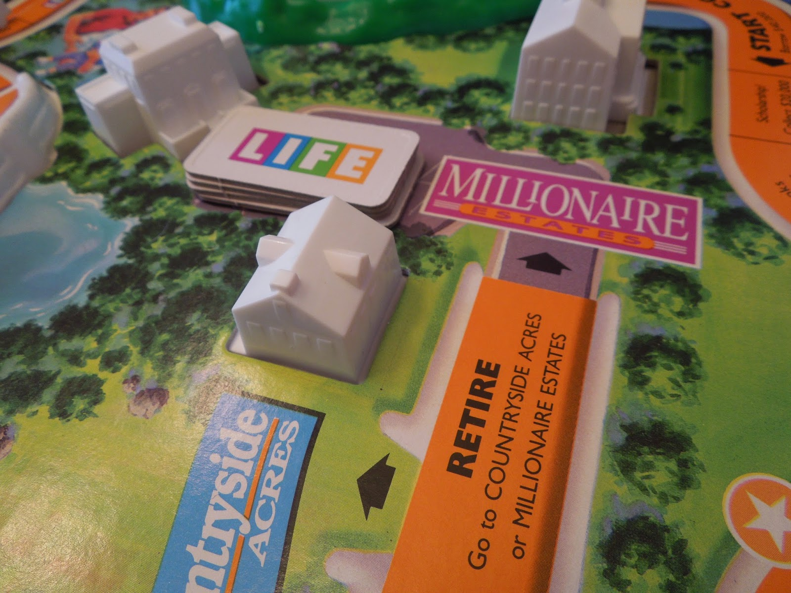 The Game of Life   A Board Game A Day     of the game receives four Life tokens  Players who retire at  Countryside Acres cannot with the extra tokens  but also cannot have their  tokens taken