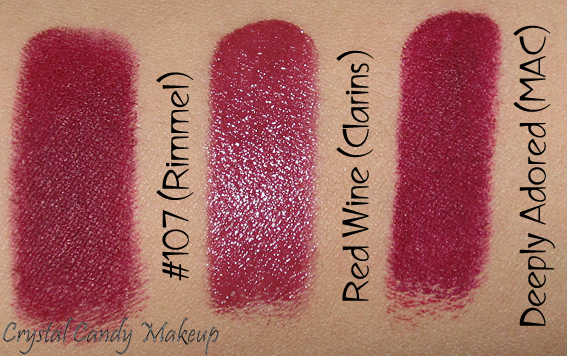 Rouge à lèvres Rouge Éclat 07 Red Wine de Clarins - Rouge Eclat lipstick review - Swatch - MAC Deeply Adored, Rimmel #107