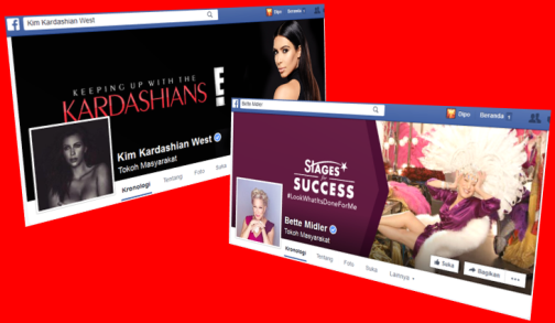Screenshot Laman Facebook Bette Midler Dan Kim Kardashian West