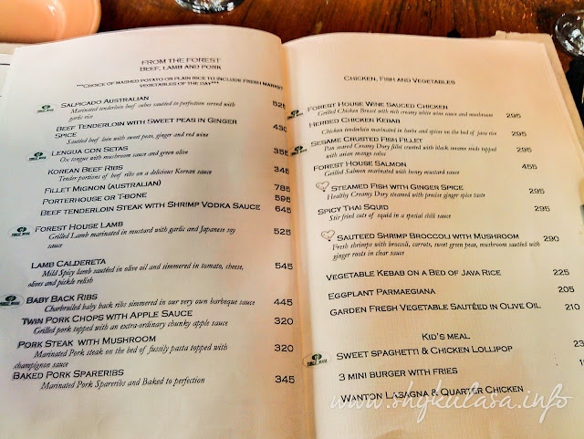Forest House Bistro and Cafe Menu Prices