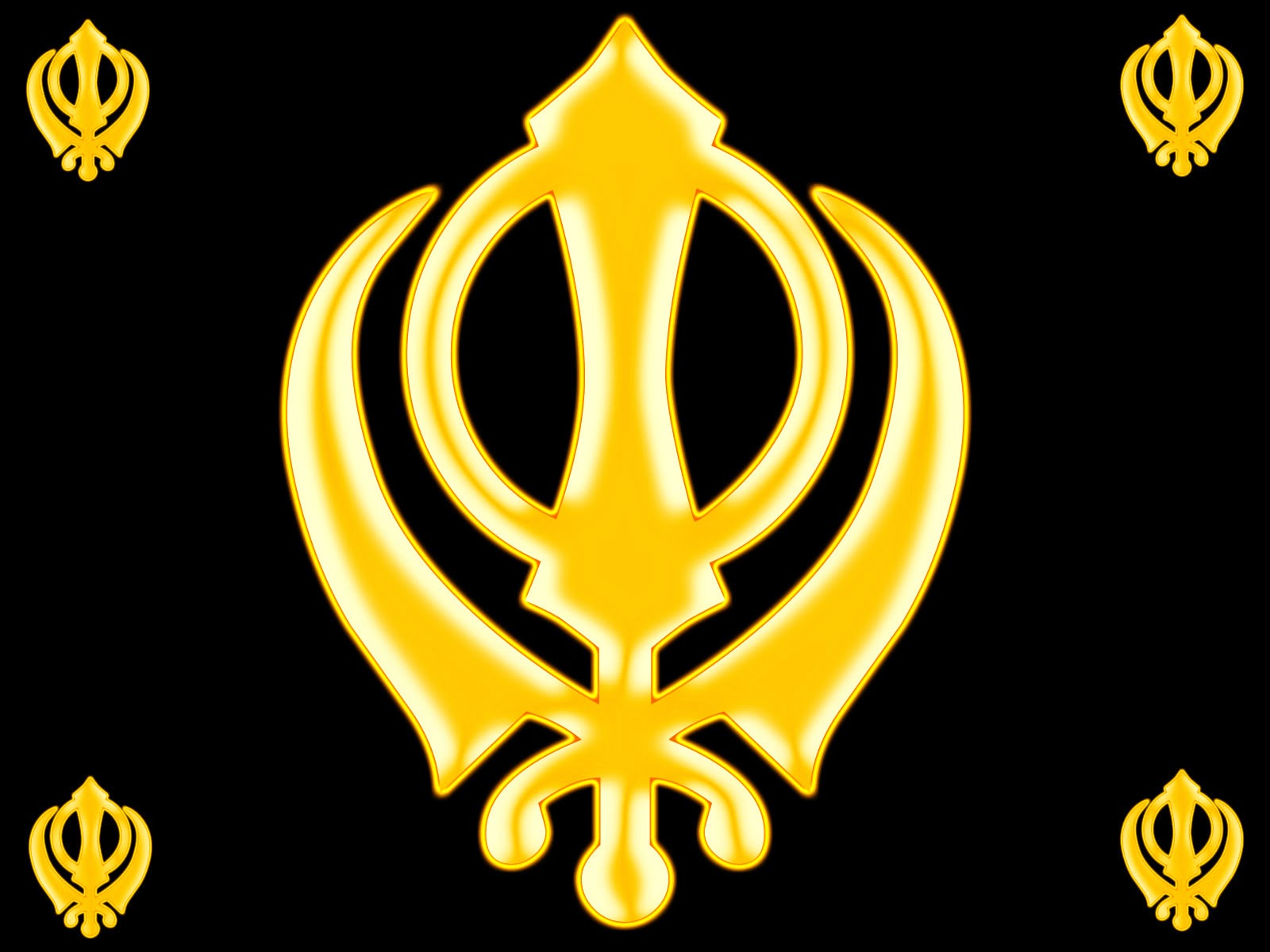 Khanda 3d Wallpapers Golden Khanda Over Black Background Wallpaper 2014
