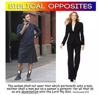 biblical opposite of men and women garment