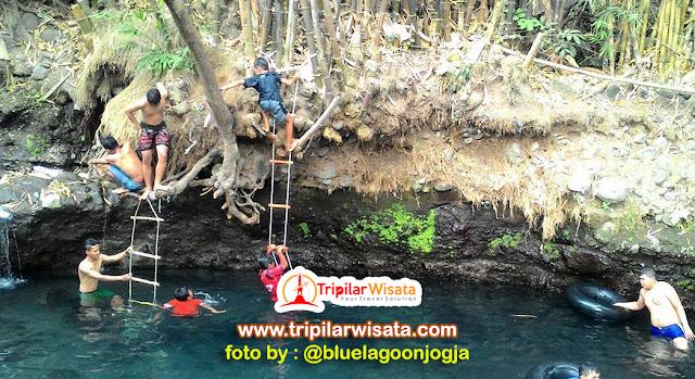anak - anak sedang bermain air di blue lagoon sleman yogyakarta