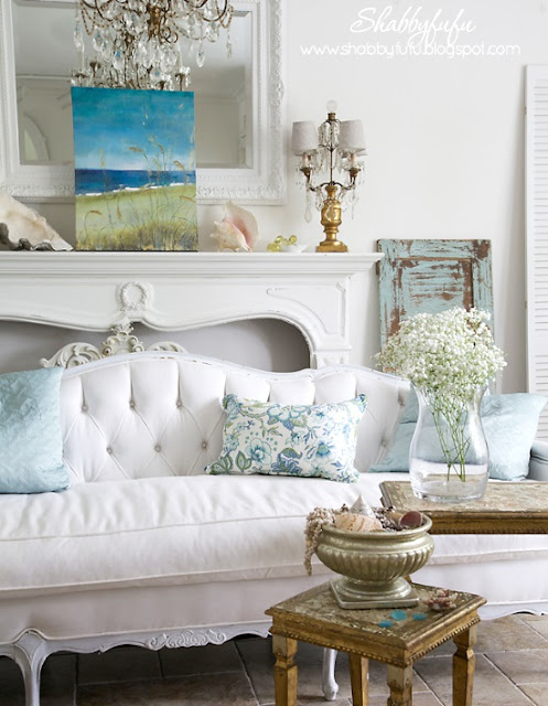 tufted sofa in a beach cottage room