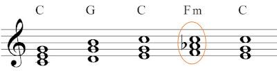 A chord progression containing a borrowed chord