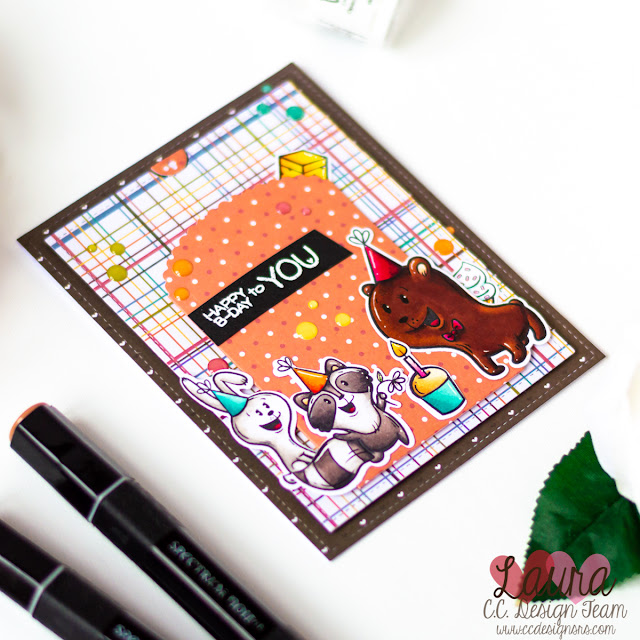 Interactive Pull Tab Card feat C.C. Designs Forest Creatures Birthday