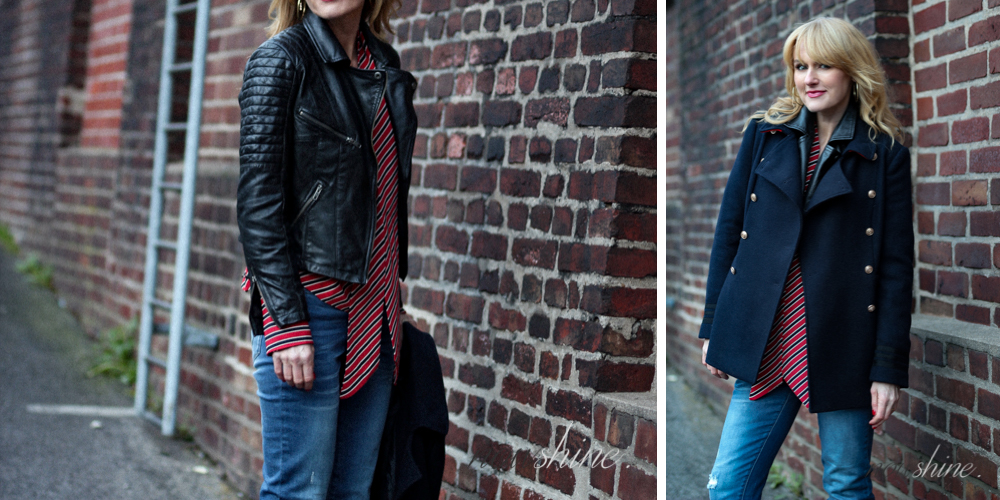 Nowshine trägt Lederjacke im Bikerstil unter Winterjacke, ü40 Mode Blog