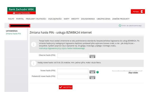 Ustawienie pierwszego hasła w bankowości internetowej BZWBK