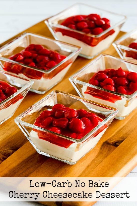 Low-Carb No Bake Cherry Cheesecake Dessert found on KalynsKitchen.com