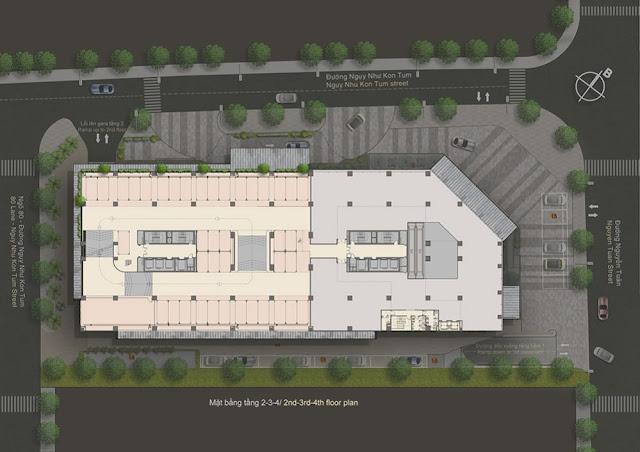 Phối cảnh mặt bằng tầng 2-3-4 chung cư The Legend Tower