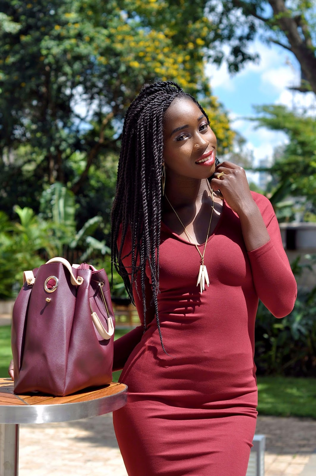 bodycon mistakes to avoid, how to wear a bodycon dress, bodycon dress, burgundy bodycon dress , Style with Ezil, Ezil, Kenyan Fashion blogger