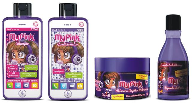 A coleção conta com quatro amigas que vivem em um mundo de fantasia  A MyPink chegou para deixar o banho das crianças mais fashion, com 16 produtos diferentes, trazendo o universo cor-de-rosa para a rotina das crianças. Saiba mais da linha no blog.