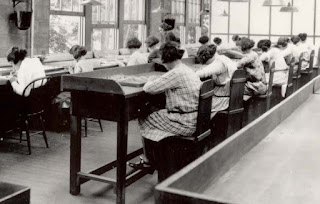 "Radium girls lip-pointing in a dial factory: ""Lip, Dip, Paint."""