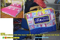 Bed Cover Belladona Hello Kitty Queen 160×200 Biru Pink Merah Muda Kartun Anak Remaja Katun CVC